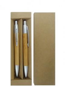 Conjunto de caneta e lapiseira com corpo em bambu