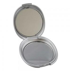 Espelho de bolso duplo em formato oval, feito de plástico resistente