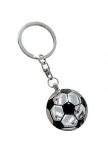 Chaveiro de metal, formato de bola de futebol cortada