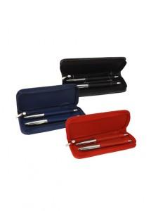 Kit caneta e lapiseira de metal com detalhes de couro sintético, em estojo de couro sintético