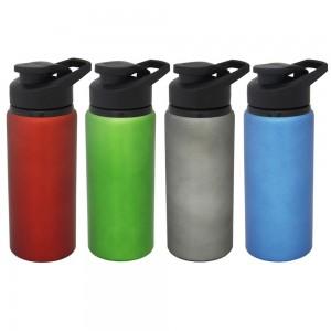 Squeeze de alumínio com tampa plástica de bico, capacidade para 600 ml. Embalagem, caixinha branca
