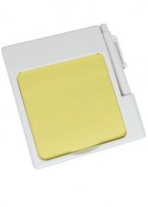 Bloco de Anotações na cor branca, com post-it (aproximadamente 25 folhas amarelas) e caneta (carga preta). Material de plástico resistente.