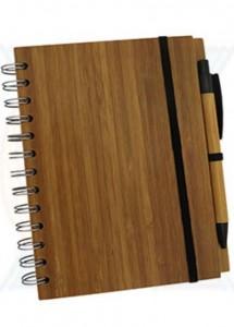 Bloco de anotações ecológico com 65 folhas reciclável, capa de bambu