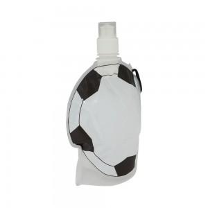 Squeeze dobrável com mosquetão, em formato de bola de futebol, material de plástico. Capacidade para 850 ml.
