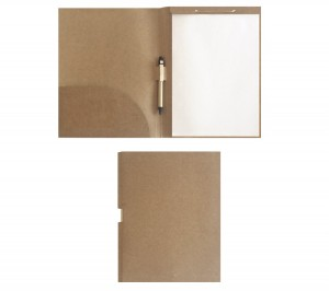 Pasta convenção ecológica em Kraft, com caneta e bloco com 30 folhas (Tamanho A4).