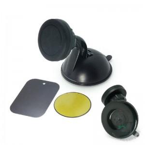 Suporte veicular universal magnético para dispositivos móveis com fixação por ventosa silicone