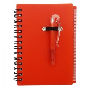 Bloco de anotação plástico com post it e régua lateral. Acompanha mini caneta plástica.
