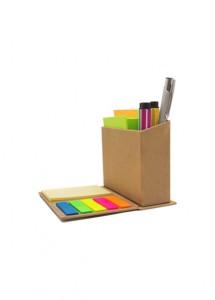 Bloco de anotações com suporte para canetas, produto em material ecológico.