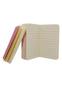 Caderneta pequena tipo moleskine, com capa plástica.