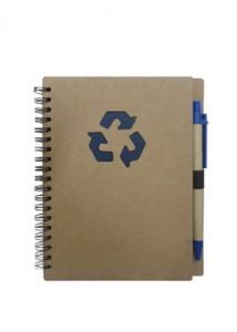 Bloco de anotações e caneta em material ecológico