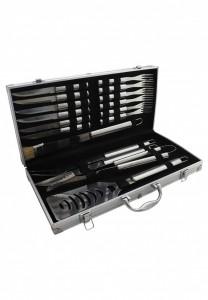 Kit churrasco com 17 peças em inox, acompanha maleta de alumínio