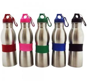 Squeeze de Inox com detalhe emborrachado, capacidade para 600 ml