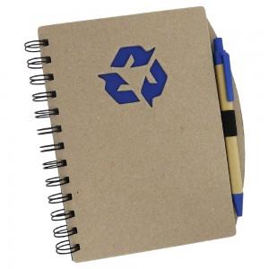Bloco de anotações e caneta, material reciclado, folhas brancas pautadas.