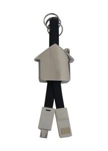 Chaveiro/Cabo de dados de metal em formato de casa.