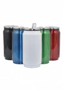 Squeeze de metal Brilhante com tampa protetora e bico. * capacidade para 275ml, formato lata de refrigerante