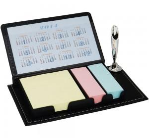 Bloco de anotações com porta caneta e post-its, material em couro sintético
