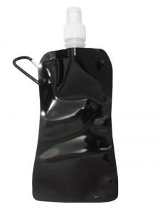 Squeeze dobrável com mosquetão, material de plástico. Capacidade para 480 ml. Nas cores: Preto, Azul, Vermelho, Prata, Laranja.