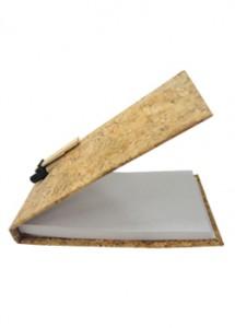 Bloco de anotações ecológico com caneta reciclável, material cortiça, e couro sintético