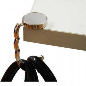 Porta bolsa de metal base oval brilhante