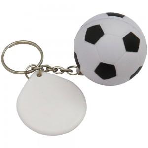 Chaveiro em formato de bola de futebol, feito de espuma (anti-stress). Com placa de plástico