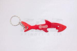 Chaveiro Aluminio Abridor Tubarão Shark Personalizado