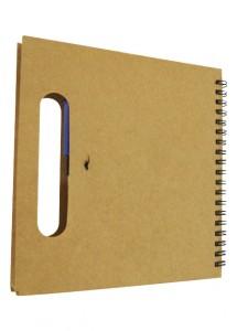 Bloco de anotações ecológico com alça, acompanha caneta