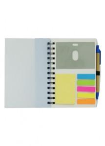 Bloco de anotações multiuso com caneta ecológica, nas cores bco/azu, bco/pre, bco/vm