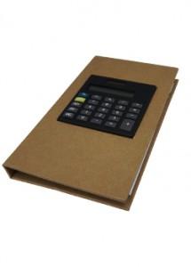 Bloco de anotações com calculadora, post-it (20 folhas) e marcadores de páginas (azul, verde, amarelo esverdeado, rosa e laranja aproximadamente 25 marcadores