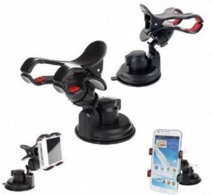 Suporte Universal para Smartphone/GPS/iPhone Clipe duplo com sucção 70mm