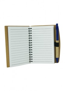 Bloco de anotações ecológico caneta