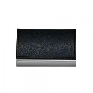 Porta Cartão de  Couro com textura e costura preta