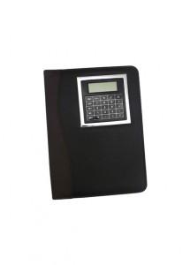 Bloco de anotações com calculadora e caneta, capa do bloco de couro sintético