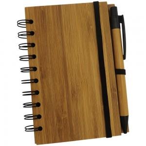 Bloco de anotações ecológico com 71 folhas reciclável, capa de bambu