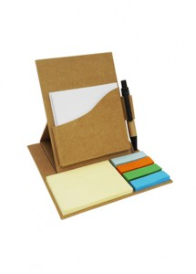 Bloco de anotação com post-it  marcadores coloridos (25 folhas) e caneta, material reciclado.