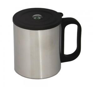 Caneca de inox com tampa e bússola, capacidade para 200 ml