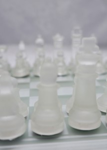 Jogo de xadrez de vidro  acrílico