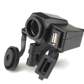 Carregador adaptador tomada USB(2.1A) e acendedor para cigarro para Motocicleta 12V a 24V