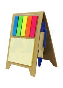 Bloco de anotação com post-it (50 folhas amarelas), marcadores coloridos (25 folhas) e caneta, material reciclado.