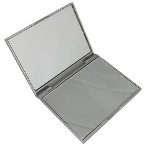 Espelho de bolso retangular, duplo e com material em plástico resistente