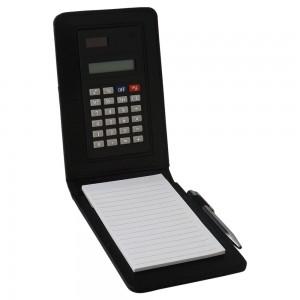 Calculadora com bloco de anotações de couro sintético preto com mini caneta de plástico