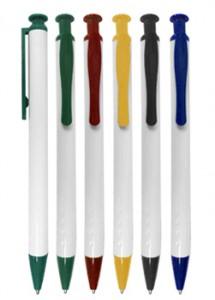 Caneta plástica corpo branco em detalhes em diversas cores