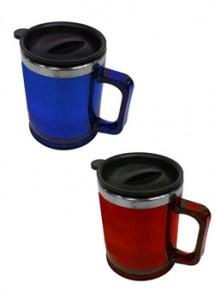 Caneca de acrílico translúcida com tampa, capacidade para 400 ml, cores: azul, vermelho, transparente, verde.