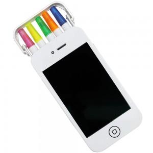 Kit marca texto em estojo em formato de Smartphone. O kit contém 5 canetas marca textos