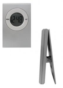 Relógio digital com prendedor, material em plástico resistente
