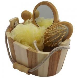 Kit banho com 5 peças, material de madeira ecológica