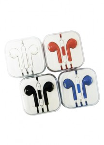 Fone de ouvido em caixinha acrílica, para celular, com controle de volume